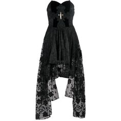 Dead Souls Elegance Cross Gothic Dress by Dark in Love ($69) ❤ liked on Polyvore featuring dresses, fitted tops, floral dress, botanical dress, gothic lolita dress and floral print dress