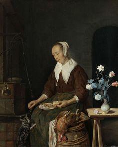 Gabriël Metsu | Woman Eating, Known as 'The Cat's Breakfast', Gabriël Metsu, c. 1661 - c. 1664 | Een zittende vrouw eet een haring met brood, een tegen haar opspringende kat krijgt de graat van de vis. Voorstelling bekend als 'Het ontbijt van de kat'. Links een waterpomp, op de voorgrond een vat waarop een dode kip ligt, rechts een vaas met bloemen op een tafeltje.