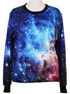 Sudadera cuello redondo Galaxia mangas largas-Azul US$31.97