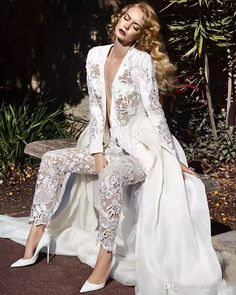 Discount Long Sleeves Lace Jumpsuit Wedding Dresses Two In One Detachable Train Plunging Neck Pearls Lace Overskirt Bridal Gowns A Line Wedding Gown A Line Wedding Gowns From Huifangzou, $179.33| Dhgate.Com