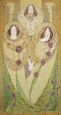 Correction:: Apparently many of these works are by Dai and Jenny Vaughan done in a similar style the MacDonald Sisters. Sorry for the errors! I hope this is right but I believe these are the works by Dai and Jenny Vaughan: The MacDonald sisters Margaret MacDonald Mackintosh and Frances MacDonald MacNair along with both their husbands were known as the Glasgow School. The four were a huge influence on the Art Nouveau movement. They are credited for being influential on artist Gustav K...