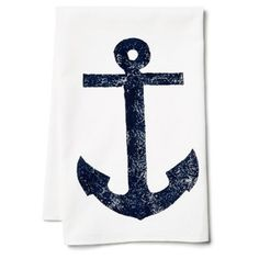 Check out this item at One Kings Lane! S/2 Anchor Tea Towels, Navy