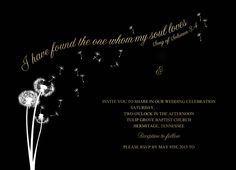 Black, gold and white wedding invitation/save the date card with dandelion design. Names and details have been removed