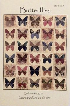 Butterflies - quilt pattern - by Laundry Basket Quilts at The Calico Cottage Quilt Shop, your home for premium quilt fabric, patterns and notions Butterfly Quilt Pattern, Butterfly Stencil, Applique Quilt Patterns, Modern Quilt Patterns, Hand Applique, Hanging Quilts, Quilted Wall Hangings, String Quilts, Laundry Basket Quilts