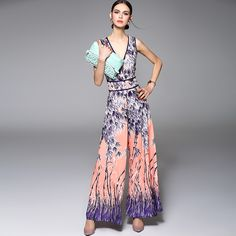 922d6f21c84e8b Nieuwe Aankomst 2016 vrouwen Sexy V-hals Mouwloze Gedrukt Hoge Street  Fashion Jumpsuits   Rompertjes