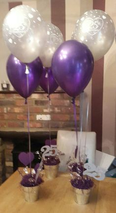 25th Anniversary Balloons In Bespoke Pots
