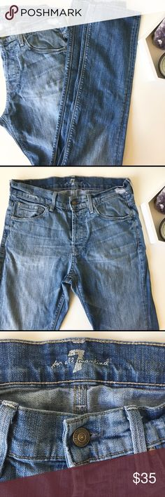 """7 for all mankind men's jeans Good condition!! Waist:15"""" raise:10"""" inseam:32"""" approx. please feel free to ask me any questions!! Offers welcome! 7 For All Mankind Jeans Slim Straight"""