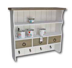 elbmöbel Wandregal aus Holz in braun weiß mit Haken und Schubladen im Landhaus-Stil: Amazon.de: Küche & Haushalt, reduziert auf 99,90 Euro