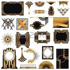 Art Deco Weinlese-Rahmen und Design-Elemente photo