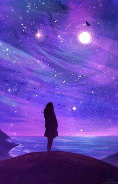 New Purple Aesthetic Wallpaper Sky Ideas Anime Galaxy, Galaxy Art, How To Draw Galaxy, Fantasy Kunst, Fantasy Art, Anime Kunst, Anime Art, Art Galaxie, Purple Aesthetic