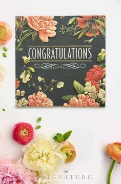 Hallmark signature makes an immediate impression and expresses your adorned with an artistic floral frame this simply stated card from hallmark sginature is the newly marriedmarried couplesbig m4hsunfo