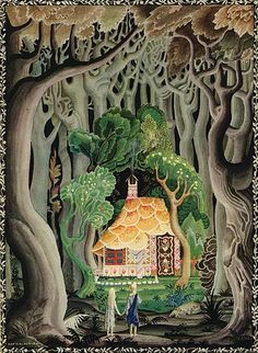 Hansel and Gretel, illustrated by Kay Rasmus Nielsen. Love the creepy forest surrounding the cheery cottage.