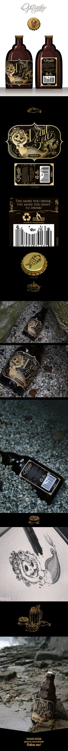 "⚓ The DEAD SEA brine ⚓ ""Personal project for an hypotetic Sea Brine drink for pirates, the 1st of a series of products by Alessandra MAiS2 Criseo, via Behance I just love this #beer #packaging PD"