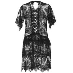 Burberry Chantilly Lace Scalloped Dress (€1.115) ❤ liked on Polyvore featuring dresses, scallop trim dress, lacy dress, scalloped dress, lace dress and round neck dress