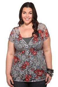 A chic surplice top, fashioned from grey floral lace, features colorful blooming flowers and an empire waist that we've ruched to flatter the figure. It's a flirty and feminine piece that layers all year long.