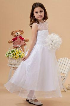 Ball gown White Tea-length Sleeveless Ruching Flower girl dress 9525b5755169