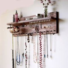 Jewelry organizer with shelf. necklace holder attached to the wall. Je - 2019 - Jewelry Diy - Jewelry organizer with shelf. necklace holder attached to the wall. Wall Mounted Necklace Holder, Necklace Storage, Jewellery Storage, Jewellery Display, Jewelry Wall Hanger, Earring Storage, Jewelry Box, Jewelry Tree, Bracelet Storage