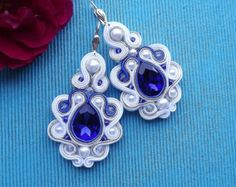 Mega White & MORE Sapphire with crystals - Soutache earrings Wire Jewelry, Boho Jewelry, Jewelry Crafts, Beaded Jewelry, Jewelery, Unique Jewelry, Soutache Pendant, Soutache Necklace, Beaded Earrings