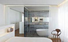 Cuartos de baño acristalados en el dormitorio - 25 ideas