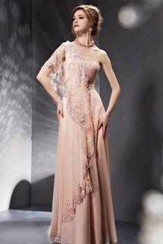 刺繍のレースが魅力的 ピンク系高級ロングドレス - ロングドレス・パーティードレスはGN|演奏会や結婚式に大活躍!