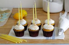 Jenny Steffens Hobick: Lemon Meringue Cupcakes with Swiss Meringue & Lemon Curd Celebration Candles