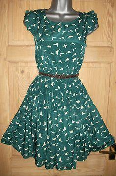 e4064d6943d Green s M 8 10 Bird Swallow Vtg 1950s WW2 Pin Up Tea Dress Rockabilly Jive  BNWT