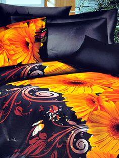 3D Floral 3Pcs Bed Sheet Set