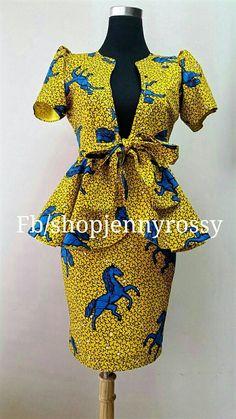 African print Skirt and Top Ankara pencil skirt and peplum jacket top US size 0 to 20 S _XL African Print Skirt, African Print Dresses, African Dresses For Women, African Attire, African Wear, African Prints, African Women, African Style, African Fashion Ankara