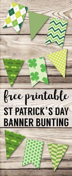 DIY St. Patrick's Day Decorations Printable Banner. Easy Irish St. Patty's Day decor idea. Cute shamrock green bunting free printable. #papertraildesign #stpattysday #shamrock #stpatricksday