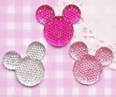 6 x Mickey Mouse Sparkle Effect Cabochons Kawaii Decoden Crafts - UK SELLER #Embellishments