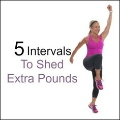 """Chris Freytag doing a Power Skip in black yoga pants and a pink tank top with the words """"5 Intervals to Shed Extra Pounds"""" next to her on a white background."""