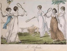 Regency ladies playing shuttlecock