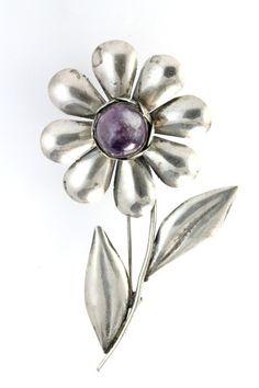 1930s Mexican Sterling Silver Amethyst Daisy Brooch