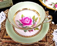 Stanley Tea Cup and Saucer Pink Rose Painted Artist Signed Teacup Lime Green