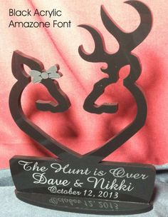 Deer Buck Doe Heart, Facing Each Other Hunting Wedding Cake Topper...so getting one of these!