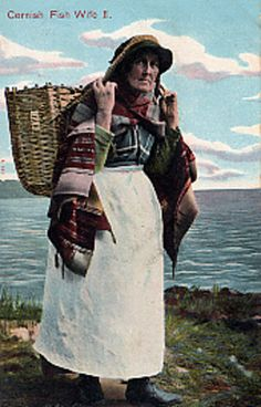 Postcard of Fish wife walking with her basket - Collections - Penlee House Gallery and Museum Penzance Cornwall UK