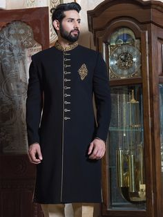 Shop Black classy terry rayon sherwani online from India. Sherwani For Men Wedding, Wedding Dresses Men Indian, Sherwani Groom, Mens Sherwani, Wedding Dress Men, Wedding Men, Blue Sherwani, Sikh Wedding, Gentleman Style