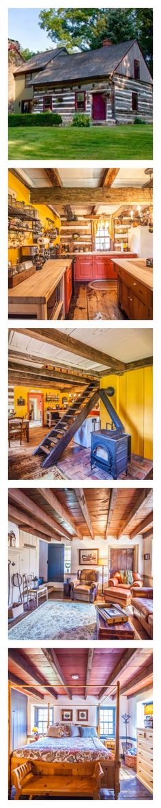 What's the best way to brighten up a cozy, country cabin? With a splash of sunny yellow, of course! The owners of this Pennsylvania log-and-stone home knew a thing or two about seamlessly blending historic architecture with modern color.