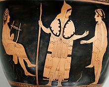 Orpheus (left, with lyre) among the Thracians, from an Attic red-figure [bell-krater (ca. 440 BC)