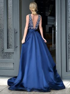 Amazing A-line V-neck Royal Blue Satin with Beading Sweep Train Backless Prom Dresses #PED020103534