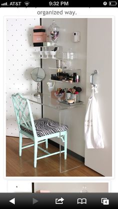 This is super cute!!! Perfect make-up room for my studio.