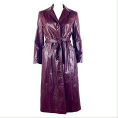 VINTAGE NORTHSIDE FASHIONS OXBLOOD LEATHER TRENCH. Check it out! Price: $107 Size: M