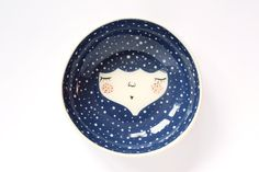Blue ceramic serving bowl - blue ceramic bowl - Snow queen - Baby shower gift - face plate - wall plate - wall decor - MADE TO ORDER Pottery Painting, Ceramic Painting, Ceramic Art, Plate Wall Decor, Plates On Wall, Ceramic Plates, Ceramic Pottery, Color Me Mine, Paperclay