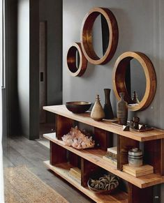Round mirrors are held by thick wooden frames that evoke the glamour of a luxury liner. Shiny brass trim on the inner rim accentuates the clean and simple design. Made of mango wood with a waxed finish. x deep Medium dia. Decor, Furniture, Interior, Living Room Decor, Home Decor, House Interior, Home Deco, Home Interior Design, Interior Design