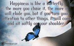 Happiness is like a butterfly; the more you chase it, the more it will elude you