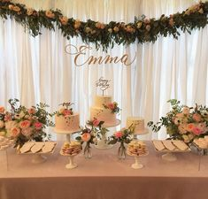 ideas baby shower party photos dessert tables for 2019 Birthday Table Decorations, Birthday Backdrop, Baby Shower Decorations, Shower Party, Baby Shower Parties, Bridal Shower, Quinceanera Decorations, Wedding Decorations, Quinceanera Party