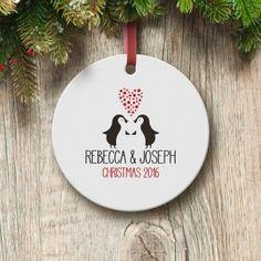 Personalised Loving Penguins Round Ceramic Decoration