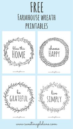 Farmhouse Wreath Printables Farmhouse Wreath Printables,handlettering Hi friends! Today I'm sharing a new set of farmhouse wreath printables I made over our February vacation. There are four sayings, each in a simple farmhouse wreath. Vasos Vintage, Silhouette Cameo Projects, Silhouette Cameo Freebies, Free Silhouette Designs, Cricut Creations, Diy Signs, Cute Signs, Vinyl Projects, Vinyl Crafts