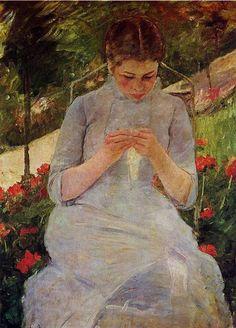 Young Woman Sewing in a Garden 1886,Mary Cassatt