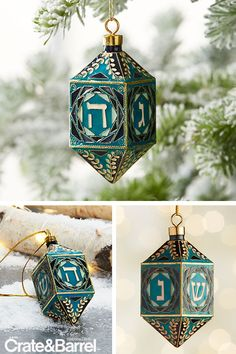 This ornate spin on the traditional Hanukkah dreidel highlights the ancient craft of cloisonné, a metalworking technique that originated in the Near East. Hanukkah Crafts, Hanukkah Decorations, Hannukah, How To Celebrate Hanukkah, Happy Hanukkah, Menorah, Crate And Barrel, Gift Crates, Jewish Celebrations